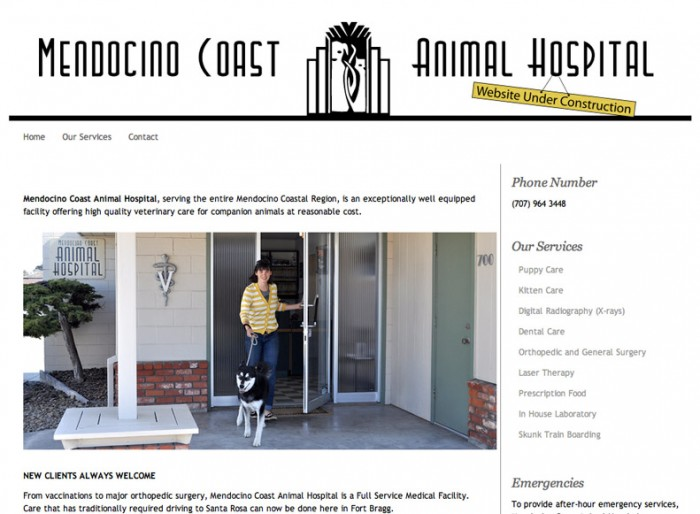 mendocino coast animal hospital website
