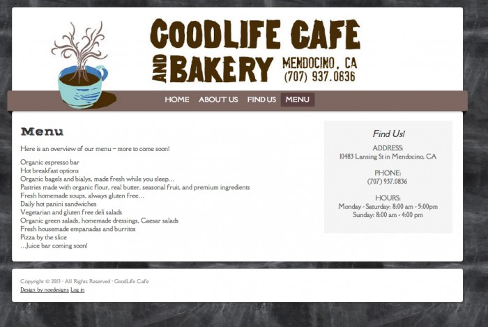 GoodLife Cafe Website