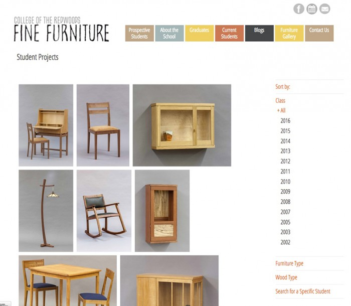 College of the Redwoods Fine Furniture Website