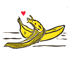 Banana Slug Block Print