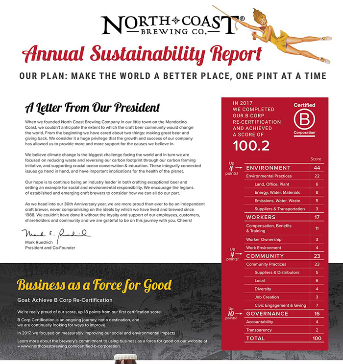 2017 North Coast Brewing Sustainability Report